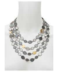 Gurhan | Multicolor Contour White & Dark Silver 24k Yellow Gold Four-layer Necklace | Lyst