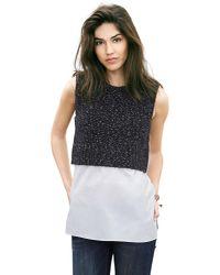 Banana Republic | Gray Mixed-media Shirttail Pullover | Lyst
