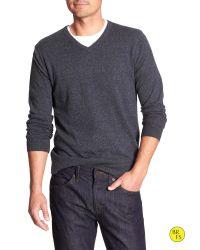 Banana Republic | Blue Factory Marled Vee Sweater | Lyst