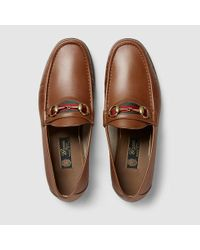 3d827b309adfd Gucci Men's Horsebit Leather Loafer in Brown for Men - Lyst