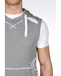 EA7 | Gray Hooded Gilet In Cotton for Men | Lyst