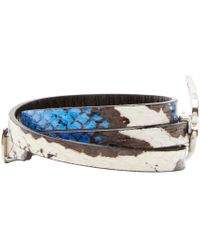 McQ - Black And Blue Snakeskin Swallow Charm Bracelet - Lyst