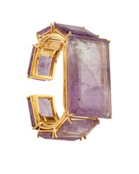 Bounkit | Metallic Faceted Amethyst Cuff | Lyst