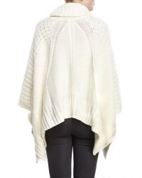 DKNY - Natural Cowl Neck Fringe Trim Poncho - Lyst
