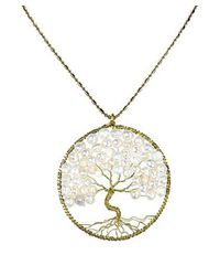 Aeravida | White Pearl Eternal Tree Of Life Brass Long Necklace | Lyst