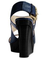 Michael Kors | Blue Michael Carla Platform Wedge Sandals | Lyst