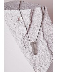 Missguided | Metallic Iridescent Pendant Longline Necklace Pewter | Lyst
