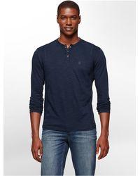 Calvin Klein - Blue Jeans Slim Fit Garment Dye Long Sleeve Henley for Men - Lyst