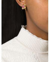 Nina Ricci   Metallic Cut Zirconium Clip-on Earrings   Lyst