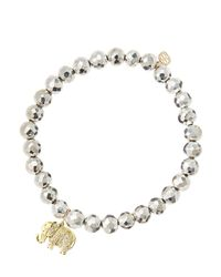 Sydney Evan | Metallic 6mm Faceted Silver Pyrite Beaded Bracelet With 14k Gold/diamond Small Elephant Charm (made To Order) | Lyst