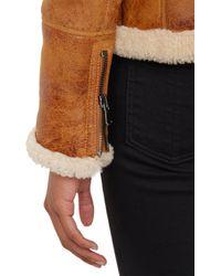 Barneys New York - Brown Lamb Shearling Zip-Up Jacket - Lyst