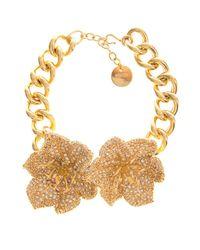 Alexander McQueen - Metallic Crystal-Embellished Flower Choker - Lyst