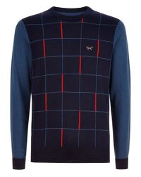 Wolsey | Blue Grid Panel Crew Neck Pull Over Jumper for Men | Lyst