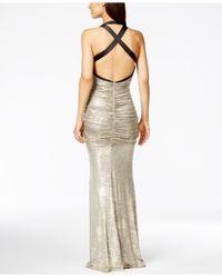Calvin Klein - Metallic Ruched Halter Gown - Lyst
