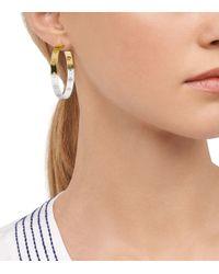 Tory Burch - Pink Dipped Pierced-T Hoop Earring - Lyst
