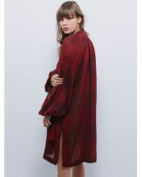 Free People | Red New Romantics Check Tunic | Lyst