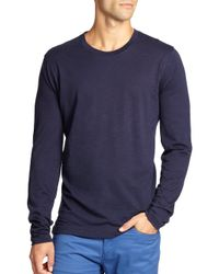 Saks Fifth Avenue   Blue Long-sleeved Cotton Tee for Men   Lyst