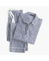 J.Crew | Blue Petite Cotton Textured-dot Sleep Set In Stripe | Lyst