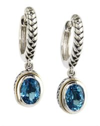 Effy | Balissima Blue Topaz, Sterling Silver And 18k Yellow Gold Drop Earrings | Lyst
