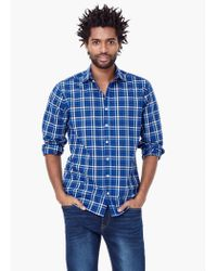 Mango | Blue Slim-fit Check Shirt for Men | Lyst