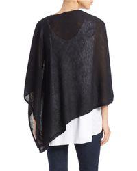 Eileen Fisher | Black Asymmetrical Wool Poncho | Lyst