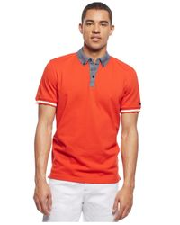 Sean John | Red Classic Chambray-trim Polo for Men | Lyst