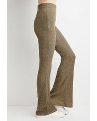 Forever 21 - Green Marled Knit Flared Pants - Lyst