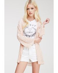 Forever 21 - Pink Embroidered Chiffon Kimono - Lyst
