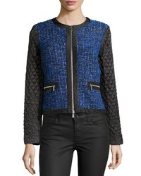 Michael Kors | Blue Tweed Jacket With Quilted Sleeves | Lyst