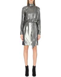 Topshop Unique - Livonia Metallic Dress, Women's, Size: 14, Silver Lame - Lyst