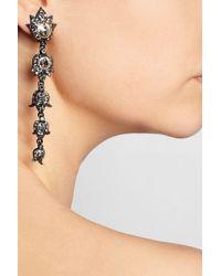 Lanvin | Metallic Blanche Gunmetal-Tone Swarovski Crystal Clip Earrings | Lyst