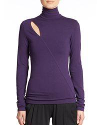 Donna Karan - Purple Slash Turtleneck Top - Lyst