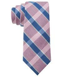 Tommy Hilfiger - Pink Plaid Linen-Silk Slim Tie for Men - Lyst