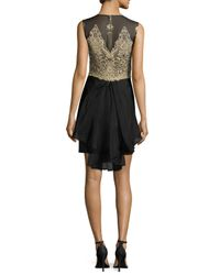 Notte by Marchesa - Black Sleeveless Embroidered Bodice Ruffled Cocktail Dress - Lyst