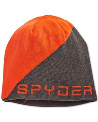 Spyder | Orange Logo Jacquard Beanie for Men | Lyst