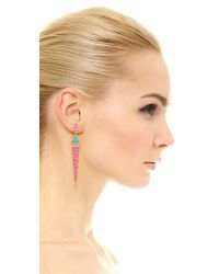 Elizabeth and James - Purple Metropolis Pave Long Triangle Earrings - Amazonite/ruby - Lyst