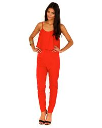 Missguided - Clarice Strappy Frilled Jumpsuit in Red - Lyst