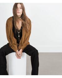 Zara | Metallic Long Necklace With Geometrical Pieces | Lyst