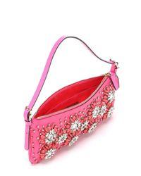 Valentino - Bright Pink Leather Floral Crystal Embellishment Shoulder Bag - Lyst