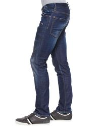 DSquared² - Blue Distressed Slim Leg Jeans for Men - Lyst