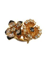 Alexander McQueen - Metallic Cherry Blossom Two Flowers Ring - Lyst