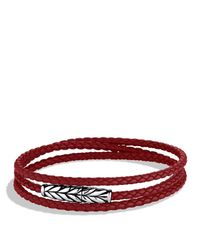 David Yurman | Chevron Wrap Bracelet Red Leather for Men | Lyst