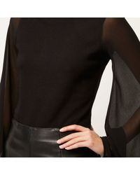 River Island - Black Flared Sleeve Cut-out Back Top - Lyst