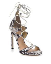 Stuart Weitzman | White Legwrap Snake-embossed Leather Lace-up Sandals | Lyst