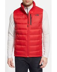 The North Face - Red 'Aconcagua' Down Vest for Men - Lyst