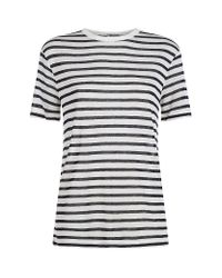 T By Alexander Wang - White Slub Breton T-Shirt - Lyst