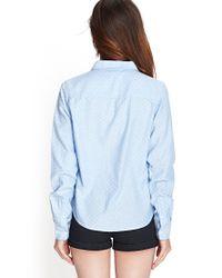 Forever 21 - Blue Woven Polka Dot Shirt - Lyst