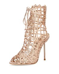 Sophia Webster - Metallic Delphine Rose Gold Leather Sandals - Lyst