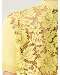 Valentino - Yellow Lace Back Knit Top - Lyst