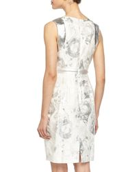 Carmen Marc Valvo - Multicolor Sleeveless Beaded-Top Floral Cocktail Dress - Lyst